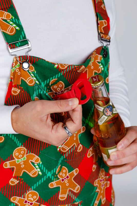 Mens Xmas Pajama Overalls with Beer Bottle Opener