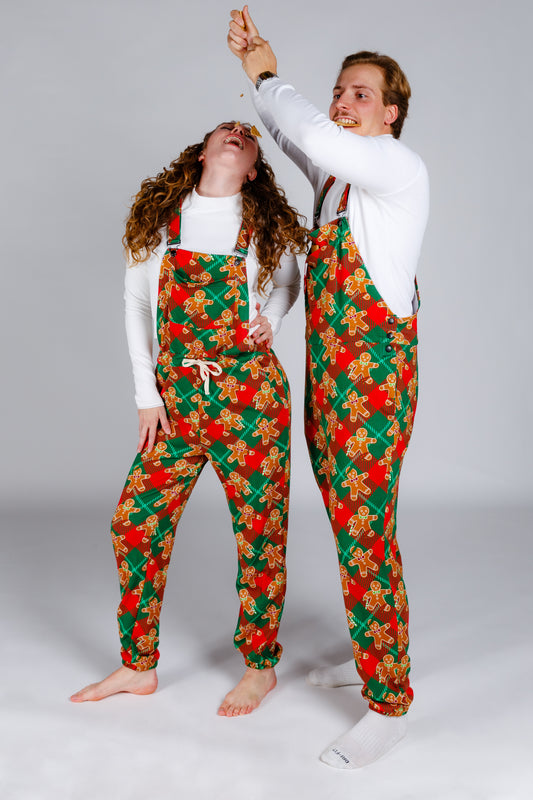 Holiday Gingerbread Pajama Overalls