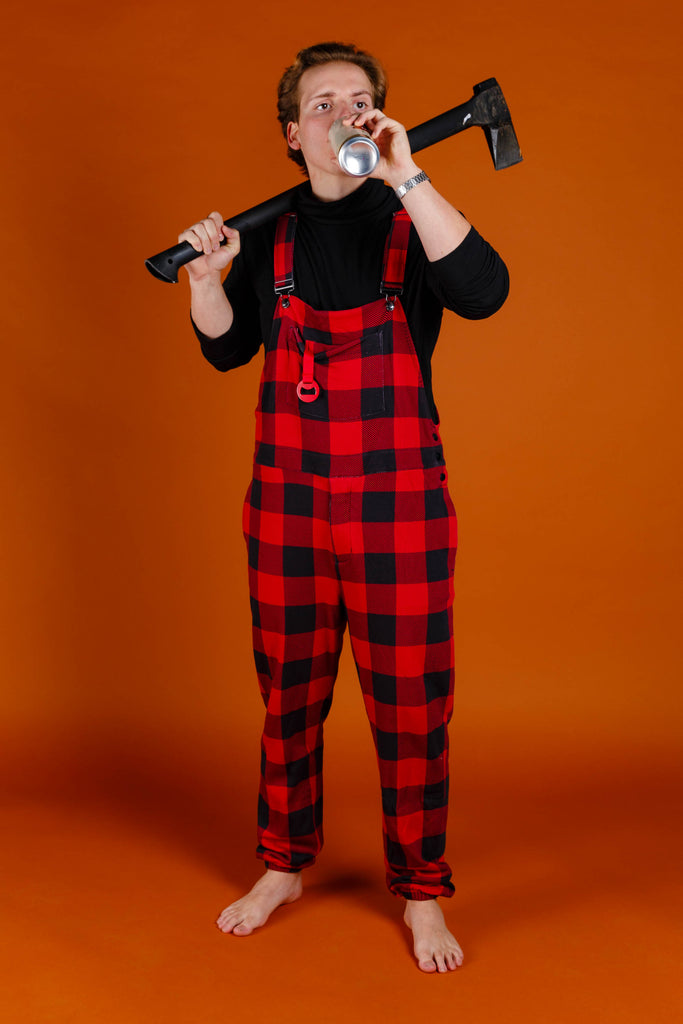 The Red & Black Lumberjack Buff Check | Mens Red Buffalo Check Christmas Pajamaralls