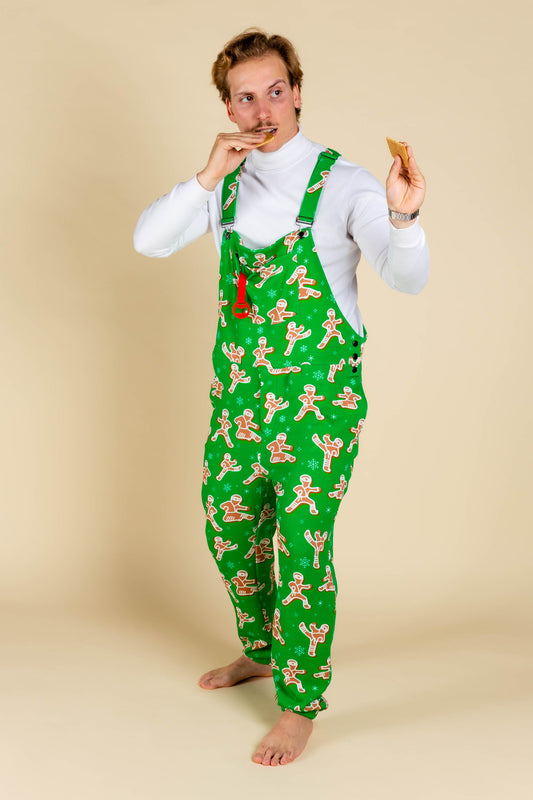The Ninja Bread gingerbread men pajama overalls for adults