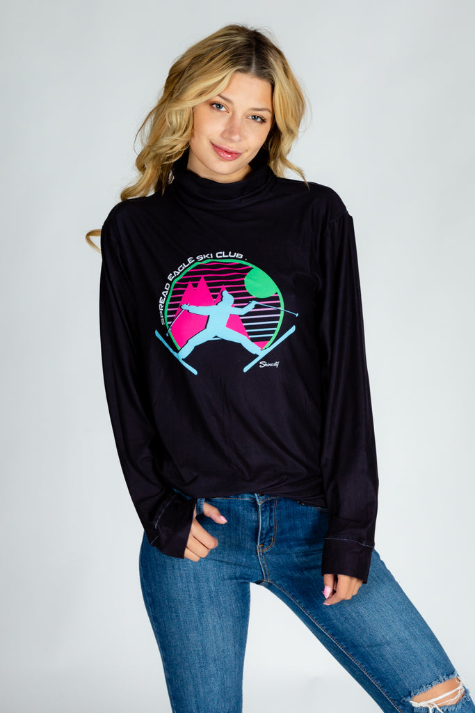 Spread Eagle Ski Club Deux | Ladies Unisex Black Turtleneck