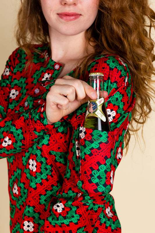 The Quilty Pleasure | Womens Red And Green Quilted Christmas Pajama Top