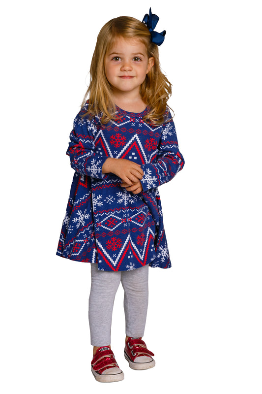 Toddler Christmas Dresses.The Navy Nordic Navy Fair Isle Toddler Holiday Dress