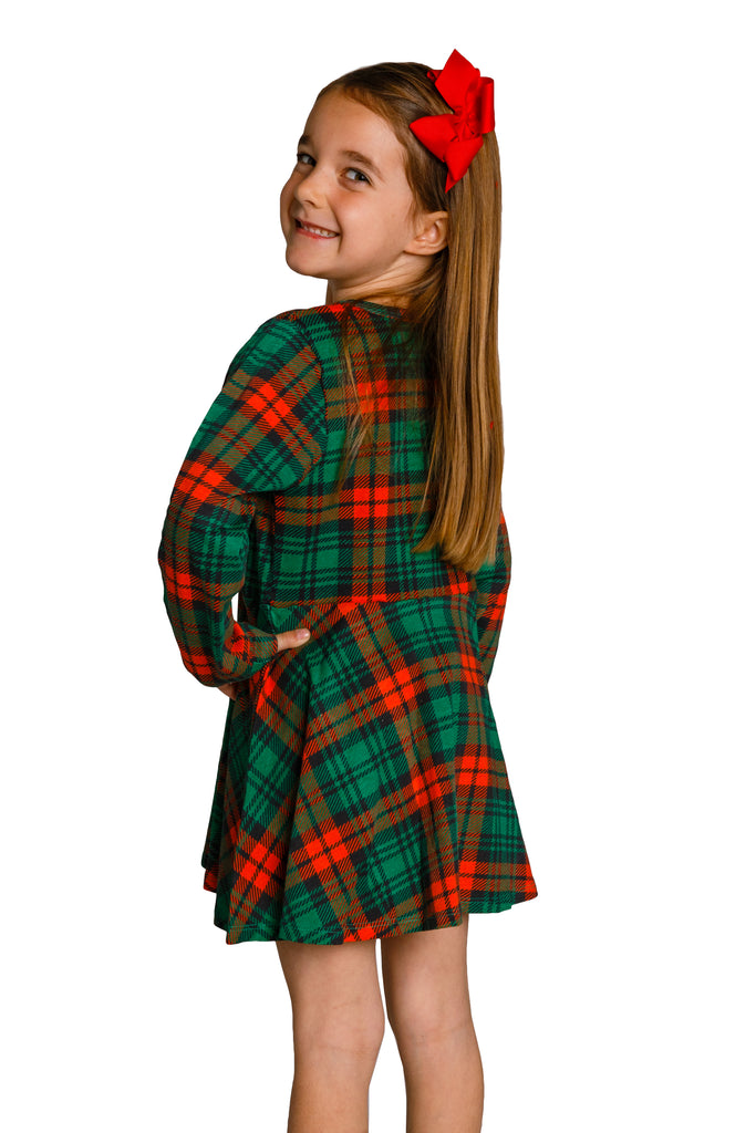 red and green plaid christmas dress for girls