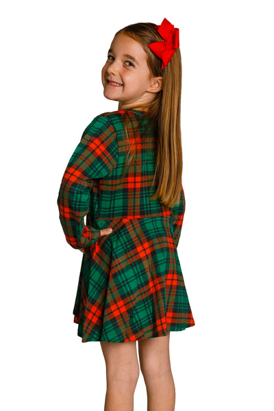 c936b571fe0 Red and Green Plaid Christmas Dress for Girls