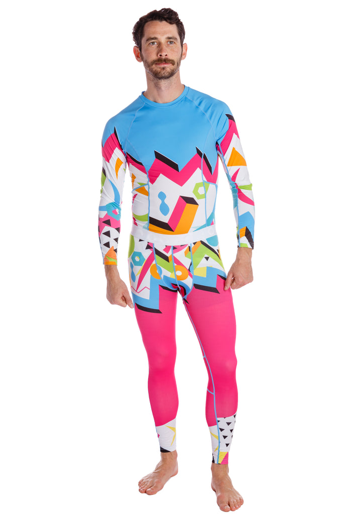 The Geodesic Extractor | Men's Neon Print Base Layer Set