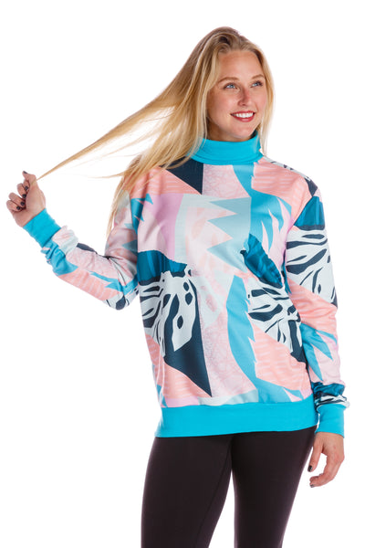 Ladies floral turtleneck sweater