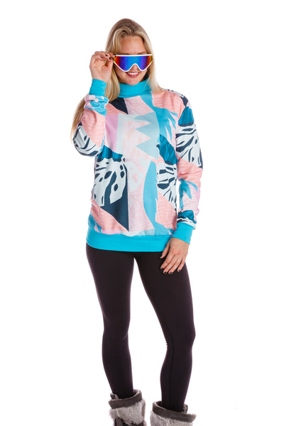 Women's neon retro turtle neck