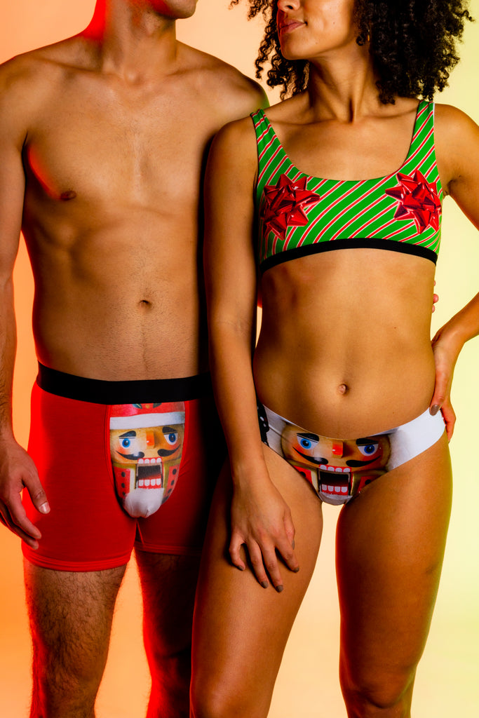 Aw Nutz! | Christmas Nutcracker Boxer Thong and Bralette Underwear Pack
