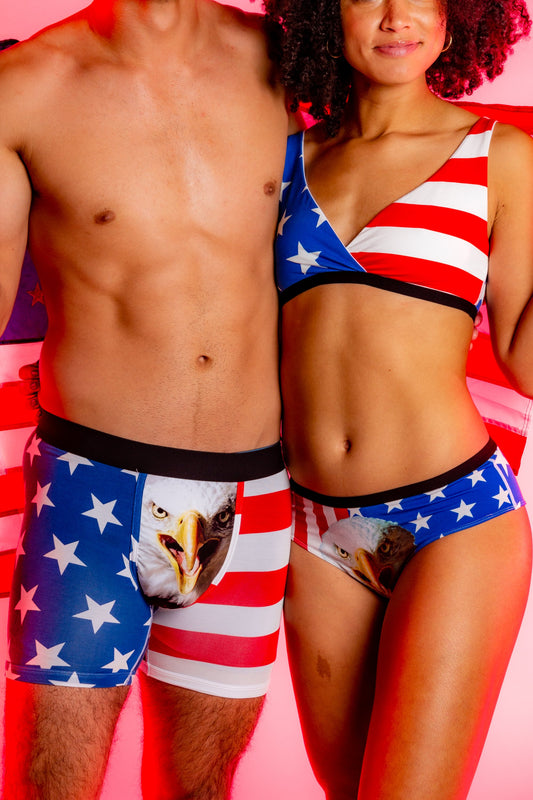 Matching USA themed underwear