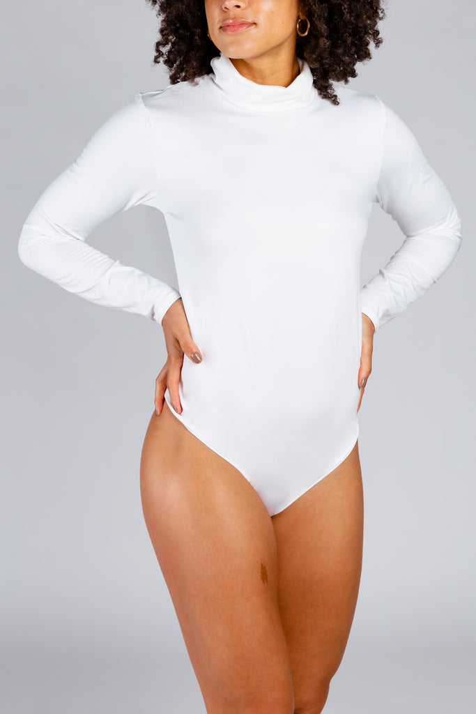 The Snow Storm | Women's White Turtleneck Body Suit