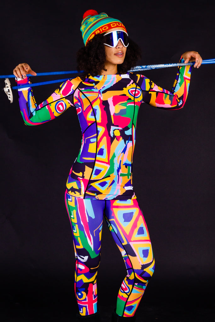 My Other Base Layer is a Picasso | Ladies Unisex Abstract Printed Ski Base Layer Set