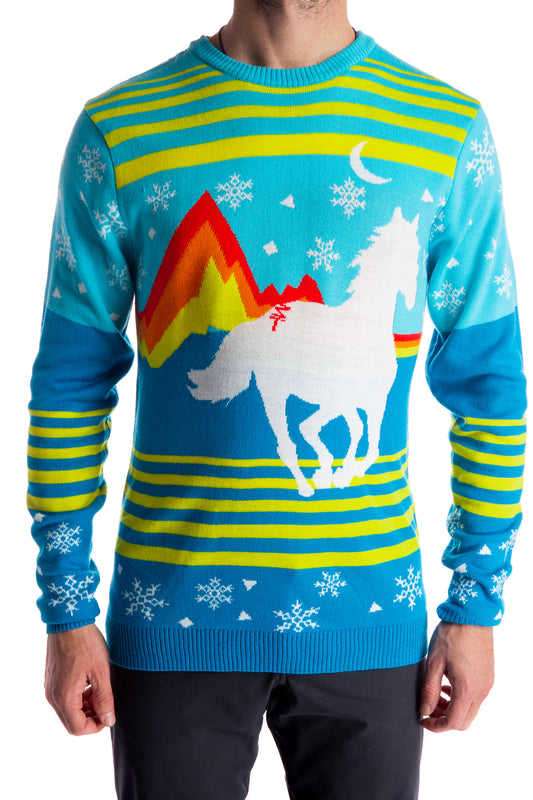 Guy's horse ugly holiday christmas sweater