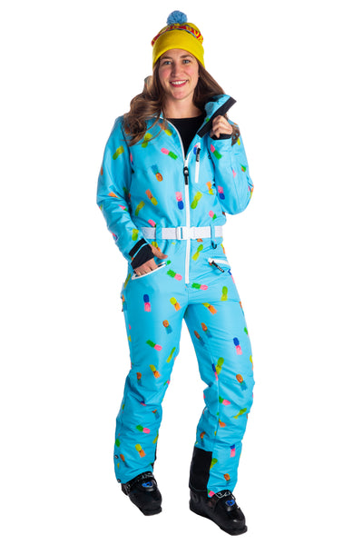Women's Pineapple neon retro ski suit