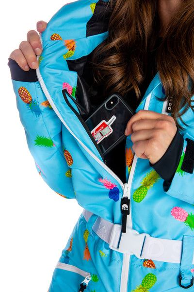 Retro print ski suit for women