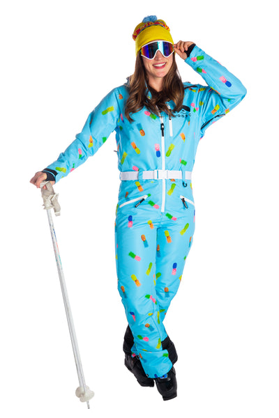 Ladies pineapple print retro ski onesie