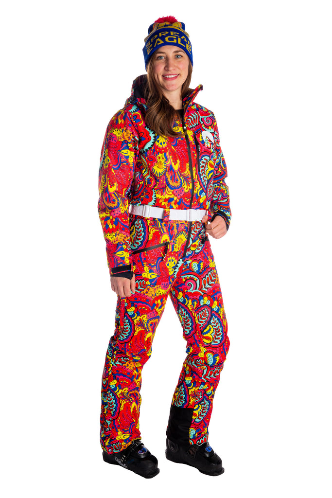 The Paisley Pillow Popper | Women'S Neon One-Piece Ski Suit
