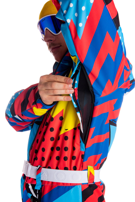 Neon 90's ski suit for guys