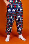 Mens Navy Mating Deer Fairisle Christmas Pajama