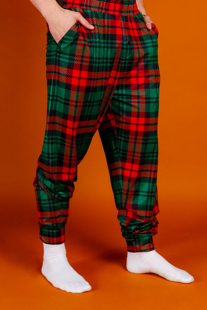 The Lincoln Log Love Daddy | Men'S Red Plaid Christmas Pajama Bottoms