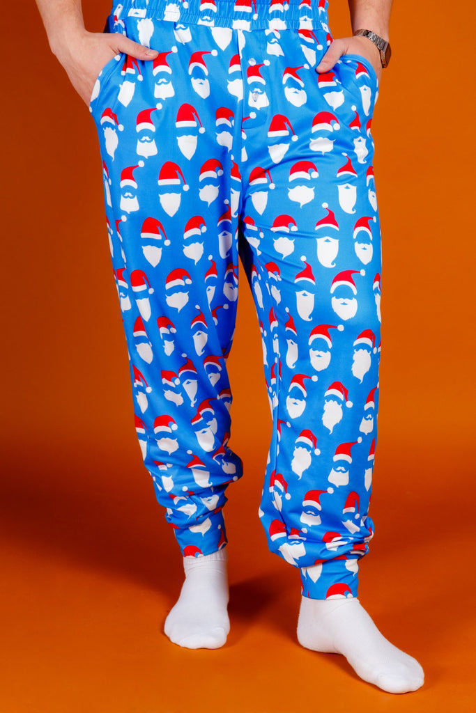 50 Shades of Santa | Mens Blue Santa Faces Christmas Pajama Bottoms