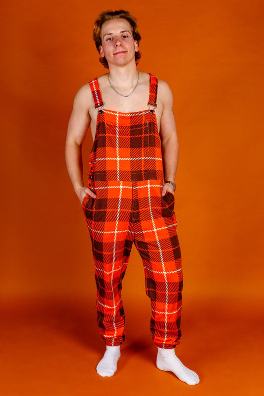 mens orange plaid pajamaralls