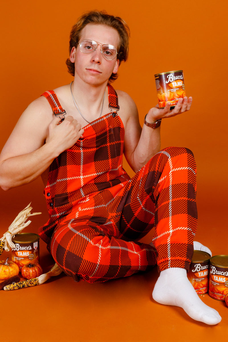 The Feast Forgivers | Mens Orange Plaid Thanksgiving Pajamaralls