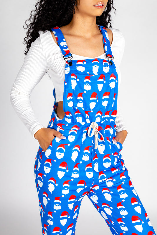 Womens Blue Santa Pajamaralls
