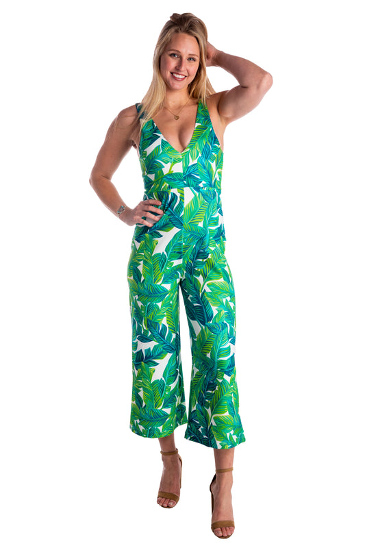 attractive price modern and elegant in fashion online here The Green Goddess | Green Palm Tree Jumpsuit