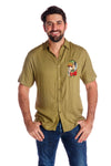 Men's hawaiian girl olive button up shirt