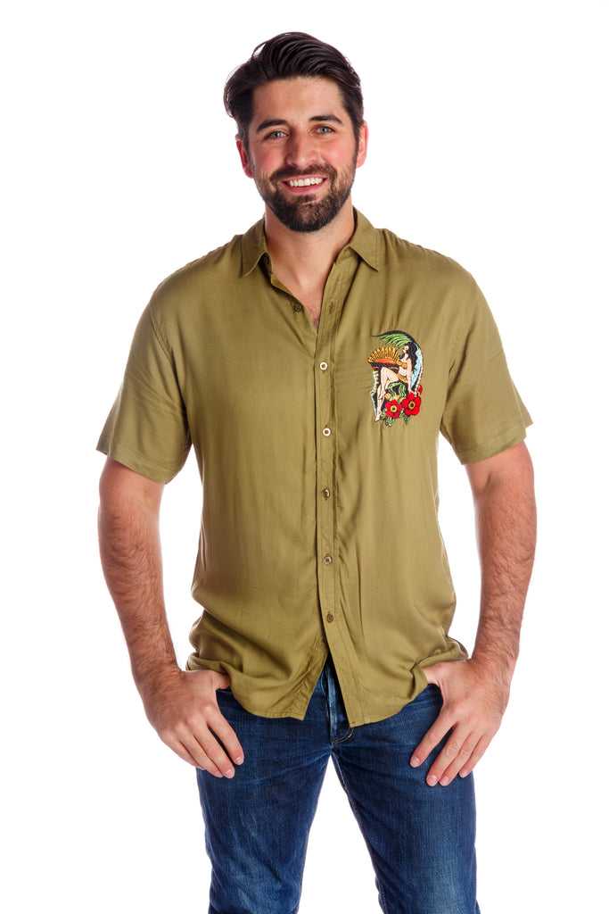 The Island Girl | Men's Olive Hawaiian Button Up