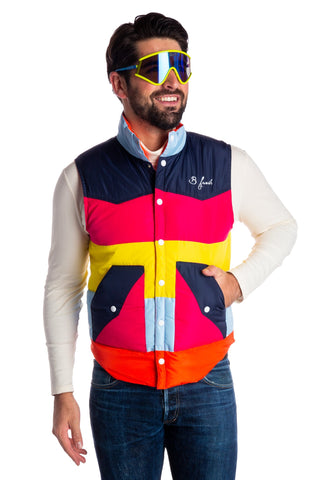 Men's rainbow vintage down vest