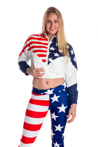 Women's stars and stripes USA print windbreaker