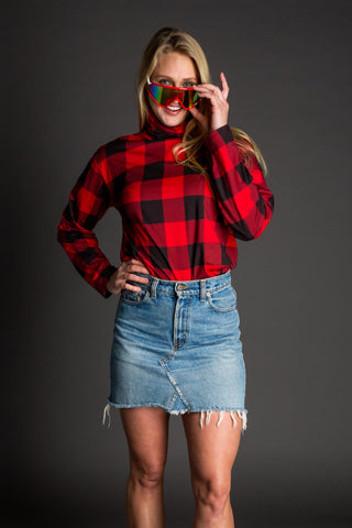 Women's red buffalo check turtleneck sweater