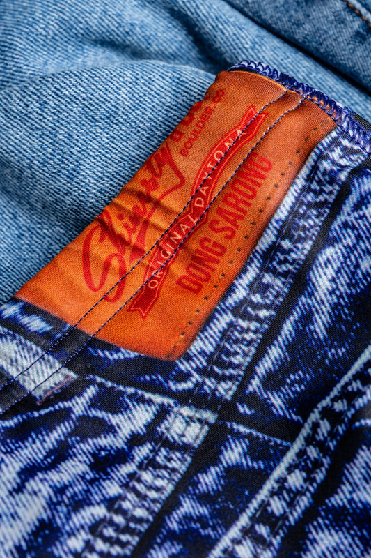 The Daytona Dong Sarong | Denim Print Swim Brief | Pre-Order | Ships June 2021