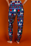 Womens Navy Mating Deer Fairisle Christmas Pajama