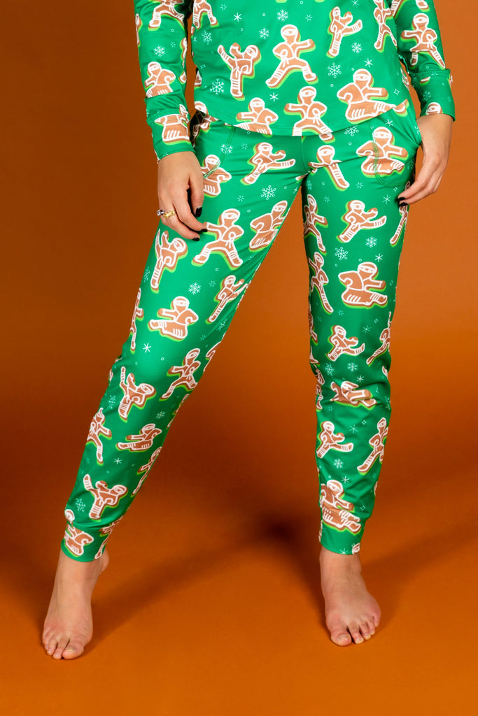 The Ninja Bread | Women's Green Gingerbread Christmas Pajama Bottoms