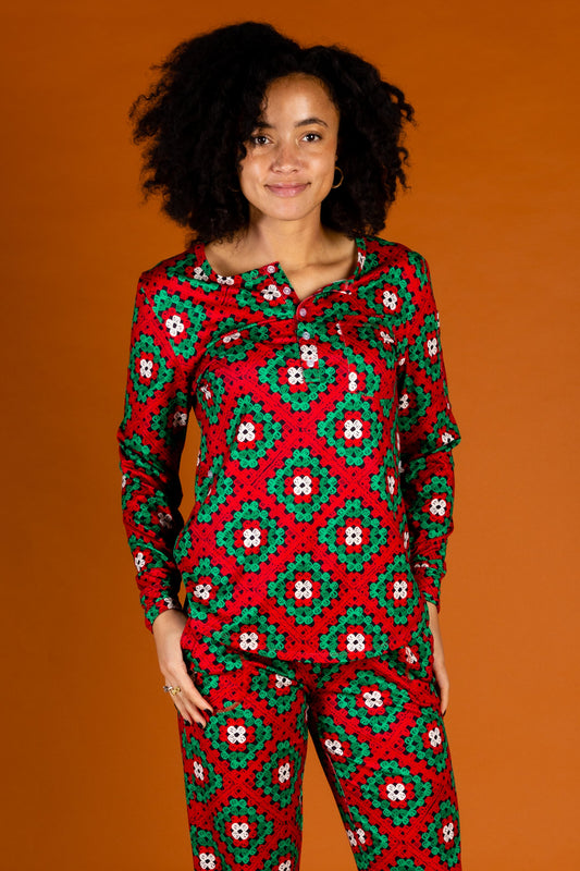 Women's Big Knit Christmas Pajama Top