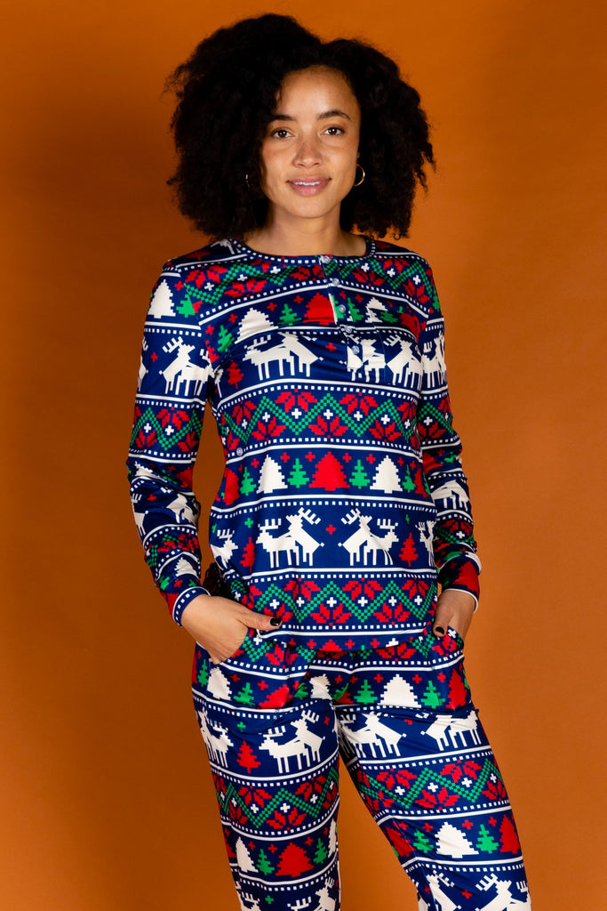 The Caribou Lous | Womens Navy Mating Deer Fairisle Christmas Pajama Top