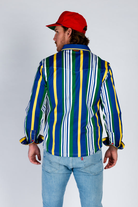 Blue green white and yellow striped shirt