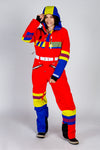 Ladies red retro unisex ski suit
