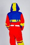 red yellow and blue snow suit