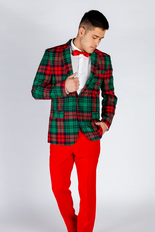 The Lincoln Log Love Daddy | Red Plaid Ugly Christmas Suit