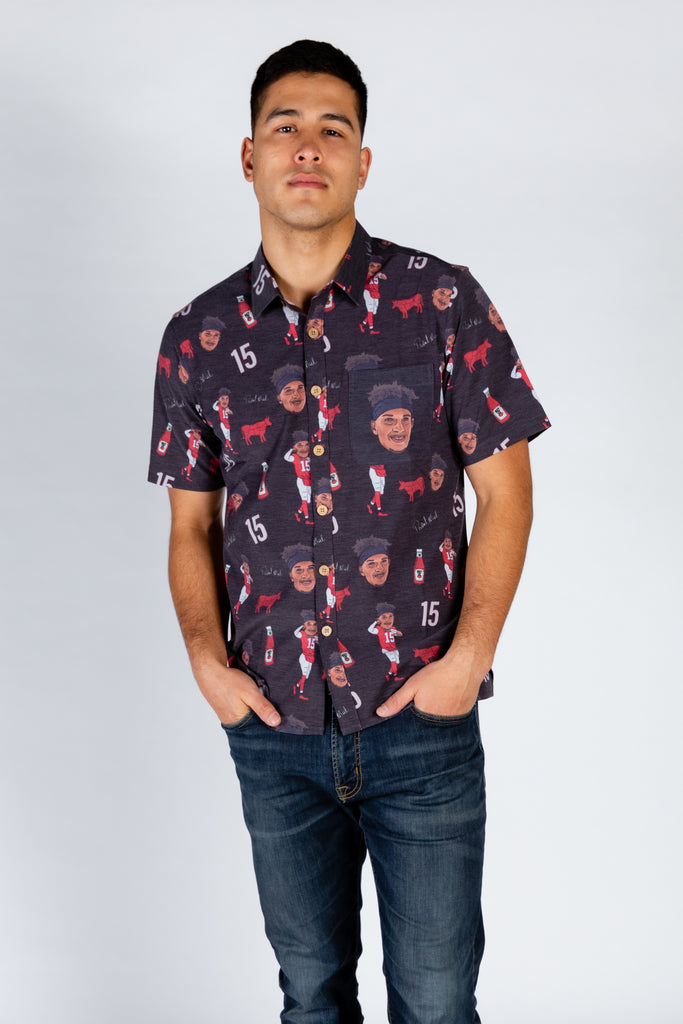 The Patrick Mahomes | Black Hawaiian With White Signatures Shirt