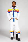 The Powder Day | Mens White Retro Striped Ski Suit