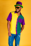 Mardi Gras colorblocked Hawaiian shirt