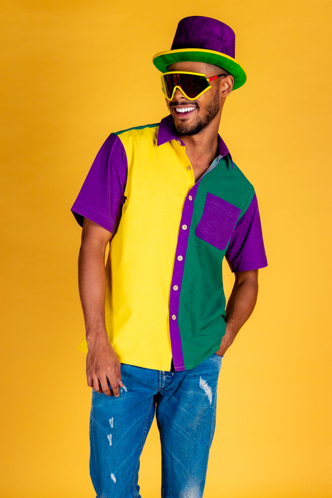 Mardi Gras Chic | Louisiana Colorblocked Hawaiian Shirt