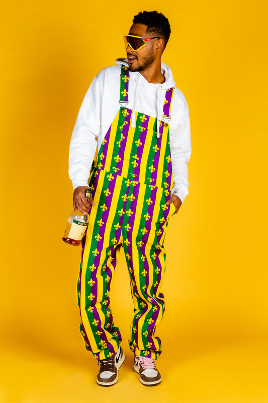 Mardi gras striped overalls