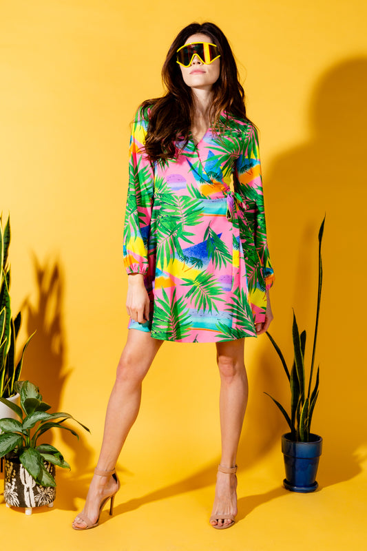 Ladies tropical pink wrap dress