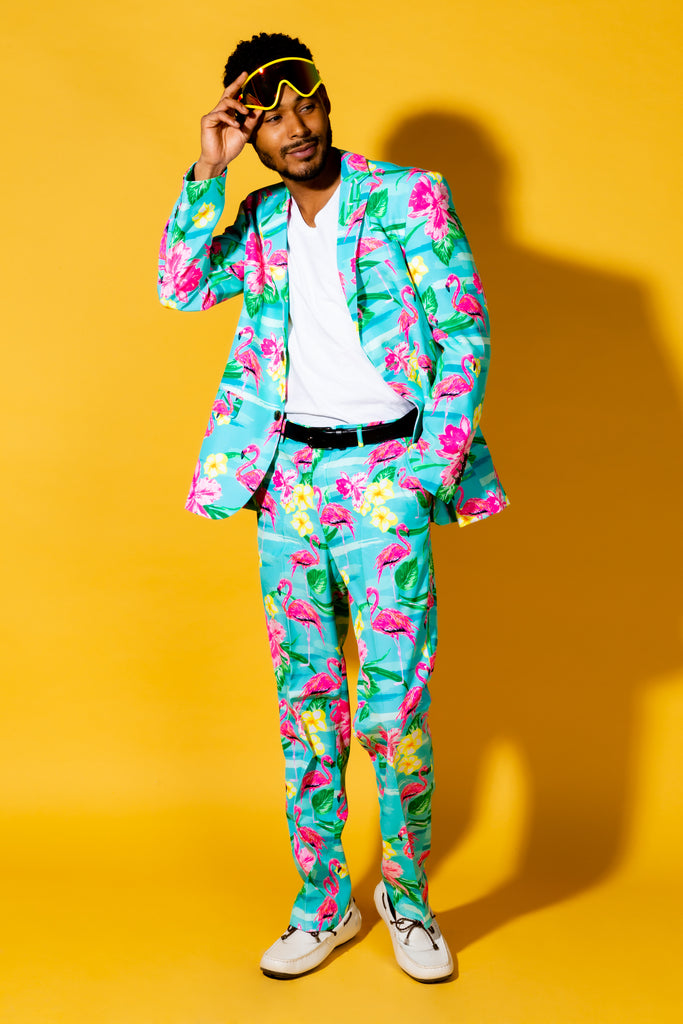 The Fort Lauderdale Vice | Tropical Flamingo Pattern Suit Blazer